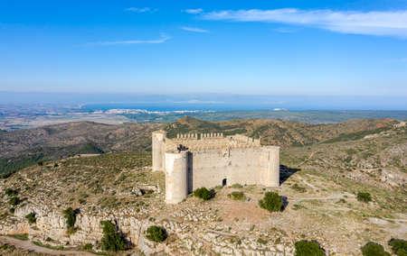 Medieval Castle called El Montgri at the top mountain near the sea in Costa Brava, Catalonia Spain