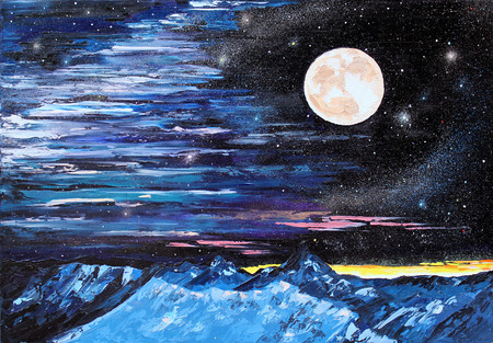 expressionism: painting Talking To The Moon, oil on canvas