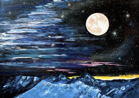 Star mountain Moon oil painting