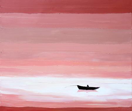 fisherman boat oil painting