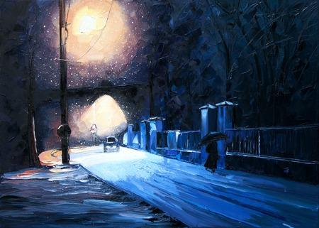 winter snow Lantern Park machine girl under umbrella oil painting