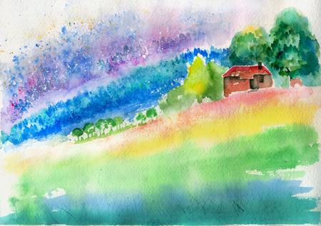 sketch landscape House watercolor Stock Photo