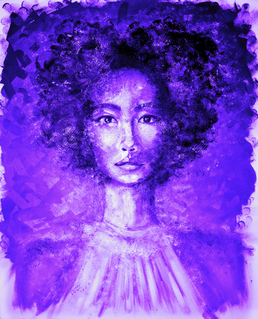 Portrait of Beautiful Woman in Neon Ultra Violet oil painting