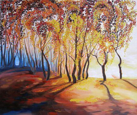 sun fall oil painting impressionism landscape autumn