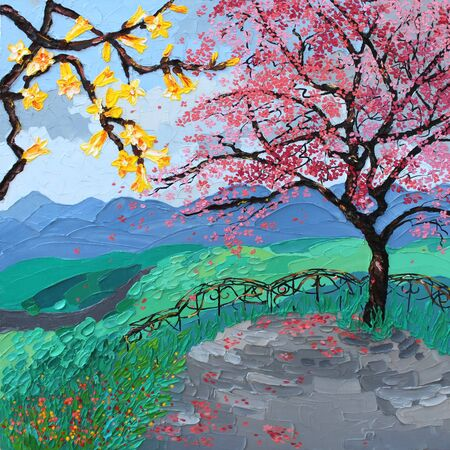 sakura blossom oil painting landscape, tree japan Stock Photo