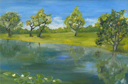 Original oil painting summer island seascape, beautiful landscape on canvas. Impressionism.