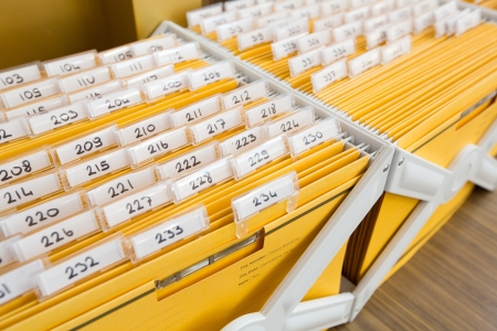 Yellow file cabinet on