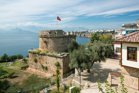 Ancient Castle Tower in old town Kaleici, Antalya. View on antalyan bay, sea and Antalya city.