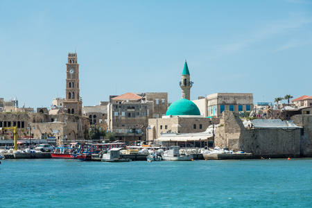 ACRE (AKKO), ISRAEL - APRIL 3, 2016: Seaview of the harbour of old Akko (Acre), Israel