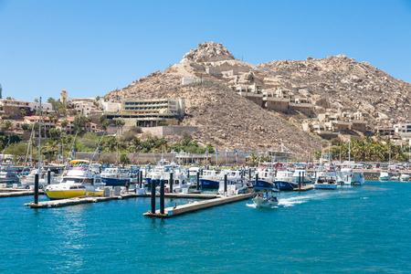 CABO SAN LUCAS, MEXICO -MARCH 20, 2012 : View on Cabo San Lucas marina, popular touristic destination on Baja California, Mexico. Holiday travel port in Mexico Editorial