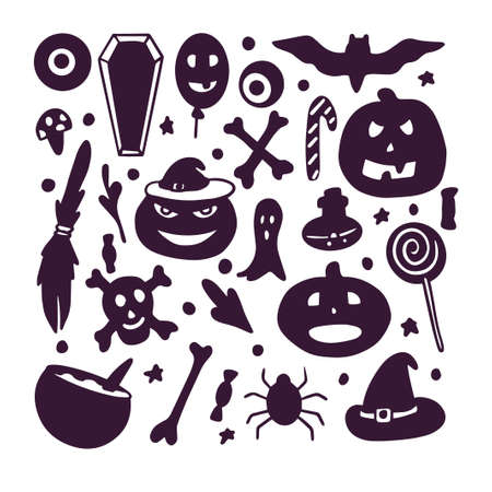 halloween kit, smiling, funny, terrible, menacing pumpkin, broom, hat, candy, bat, spider, flask on white background in vector Illustration