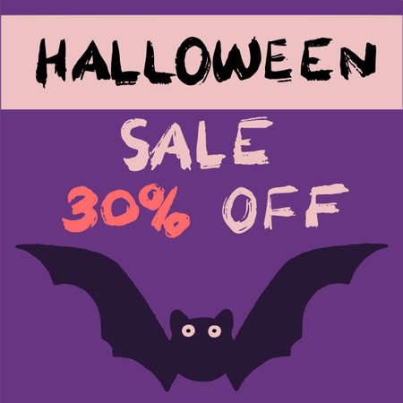 halloween discount, black, bright lettering, on a purple background with a cute funny, funny bat, in vector