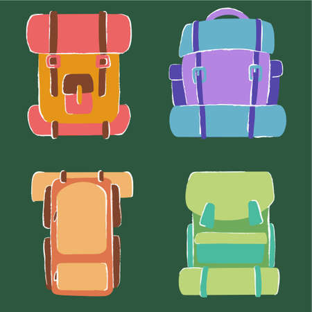 set of hiking cartoon backpacks on the theme of camping in vector