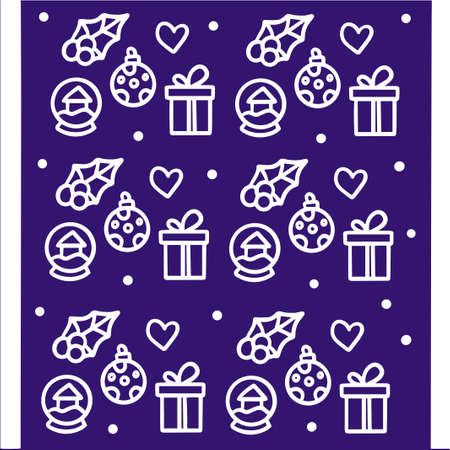 Set of black icons on a purple background in the style of Christmas and New Year. Vector illustrations for greeting cards, website designs, gift tags, and marketing materials. Иллюстрация