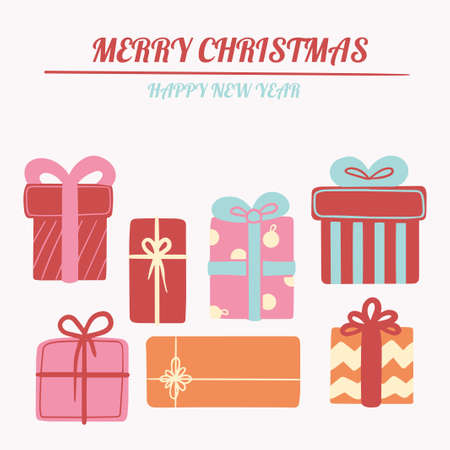 Christmas illustration, New Year card with a set of cute gifts. Vector banner for social networks, postcards, marketing materials, textures, social networks, mobile applications. Vektorgrafik