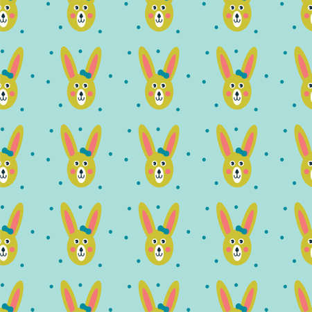 Patern, seamless pattern, with cute hares and elements. Vector design for web, print, gift paper, banners for websites, marketing materials, social media, mobile apps. Illustration