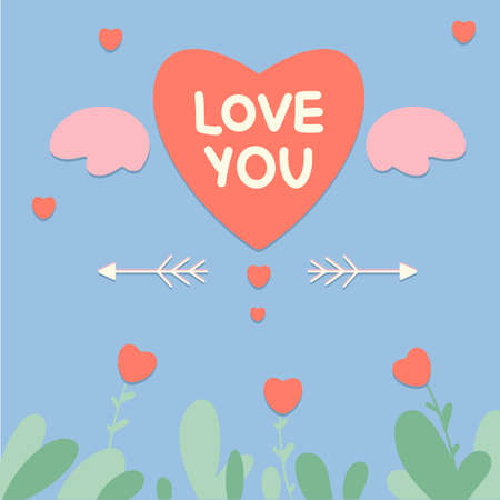 Greeting card Happy Valentine's Day, February 14 with the text Love you and hearts. Suitable for social media posts, mobile apps, banner designs, and online advertisements.