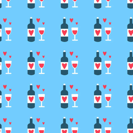 Pattern Happy Valentine's Day, February 14. Vector illustration with glasses, bottle and hearts.