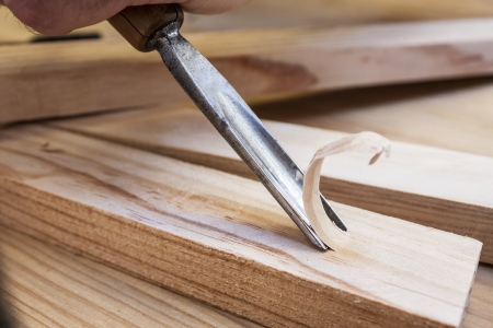 gouge wood chisel carpenter tool working wooden background Stock Photo - 14491293