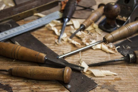 shop skill: joiner tools on wood table background Stock Photo
