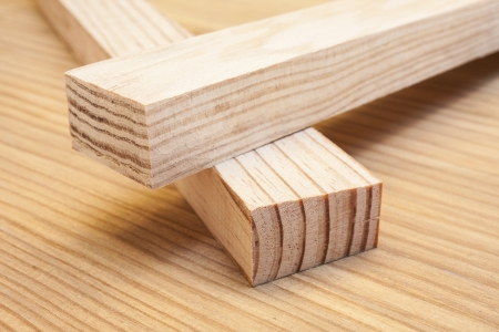 pine wood planks on wood table construction background photo