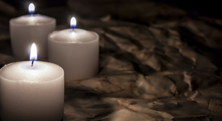 candle lights: candles on dark background Stock Photo