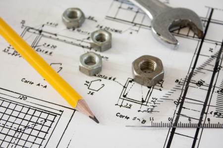 structural: tools and mechanisms detail on the background of engineer drawings