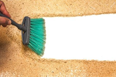 Sweep, Hobelspäne auf weißem Hintergrund Standard-Bild - 14545392