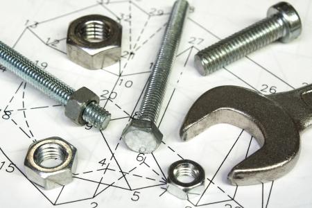 dibujo tecnico: llave y tuercas en dibujo técnico Foto de archivo