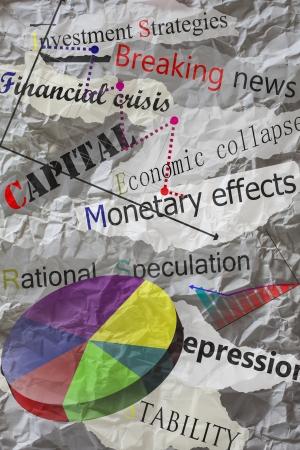crinkles: newspaper headlines with creased paper,economy