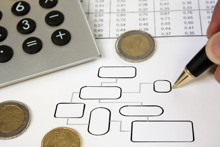 Money, pen and calculator with flowchart  Stock Photo - 14919065