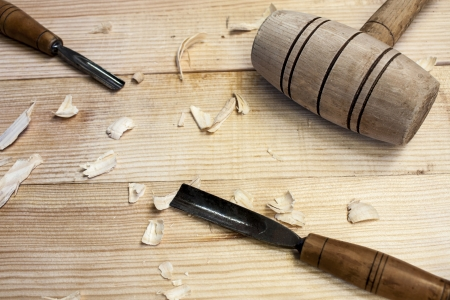 joiner tools on wood table background Standard-Bild