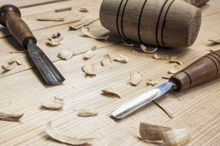 chisel: joiner tools on wood table background Stock Photo