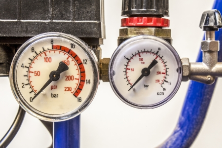barometer in blue air compressors,white background photo