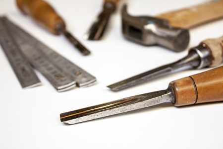 joiner tools on white table background