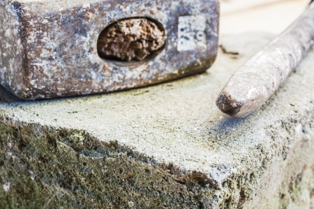 bricklayer tools  chisel and hammer  ,construction background