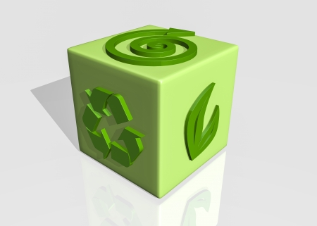 recycle cube in 3d photo