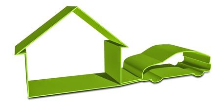 car loan: 3d house and car shape