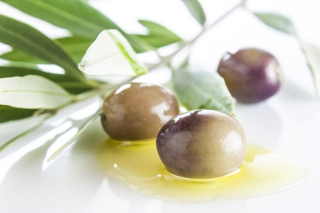 olives and oil with leaves