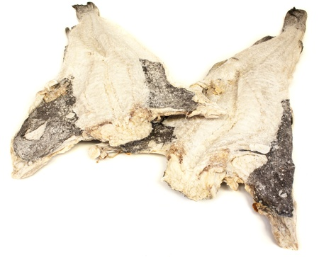 desiccation: codfish isolated on white Stock Photo