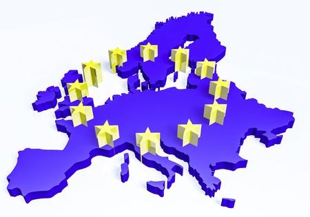 european union currency: 3d european union map