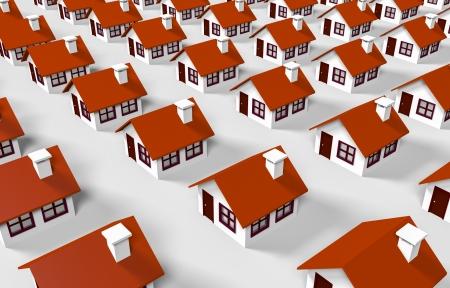 housing development: 3d lined houses