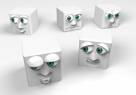 different expressions ,white cubes,3d photo