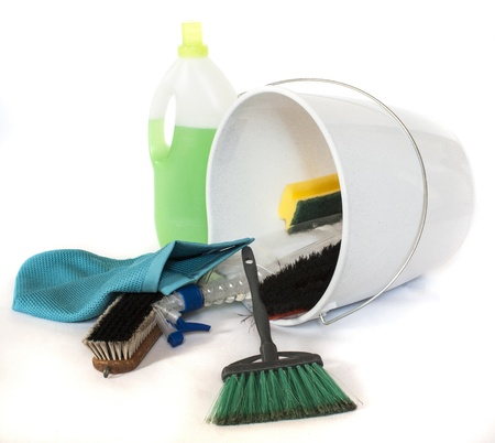 cleaning products in bucket Stock Photo - 15914979