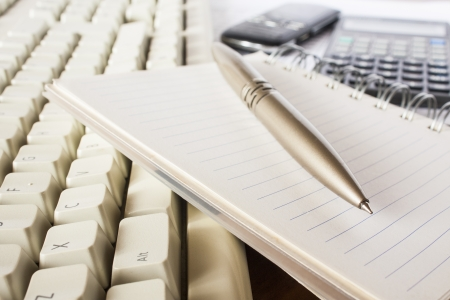 pen, notebook and keyboard,office Stock Photo - 16030135