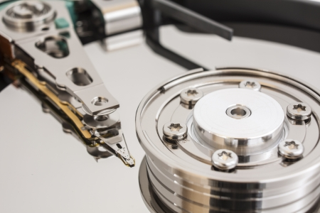 terabyte: Close up of opened hard disk drive Stock Photo