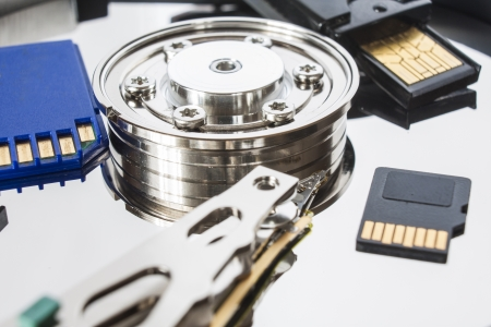 different media storage, open hard drive, sd card and pen Stock Photo - 16030214