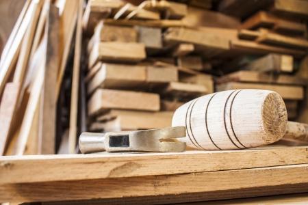 carpenter items: hammers on carpentry Stock Photo