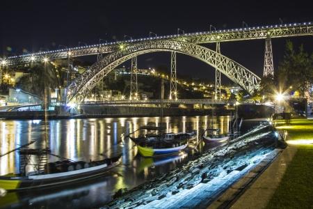 dom: Dom Luis bridge, Porto night cityscape Stock Photo