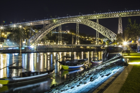 dom: Pont Dom Luis, Porto nuit paysage urbain